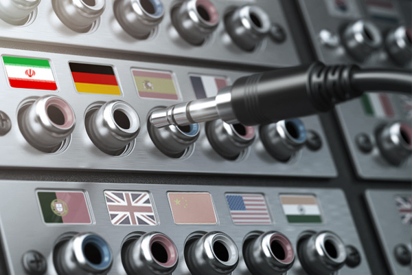 Länderflaggen auf einer Telefonanlage